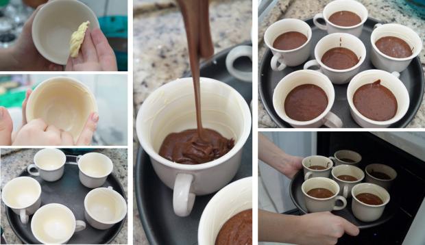 Lava Cake na Caneca - Preparando para assar