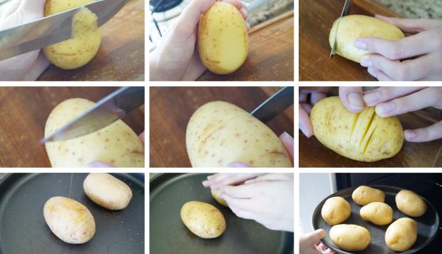 Batata Hasselback - Preparação