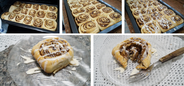 Cinnamon Rolls -Tirando do forno