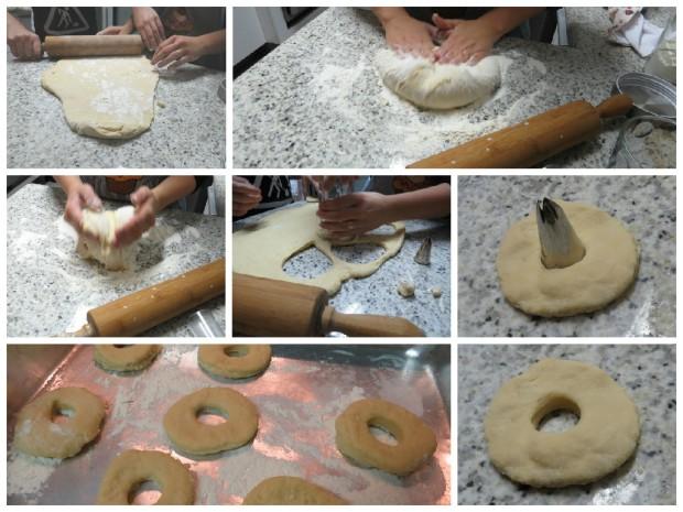 donuts cortando a massa