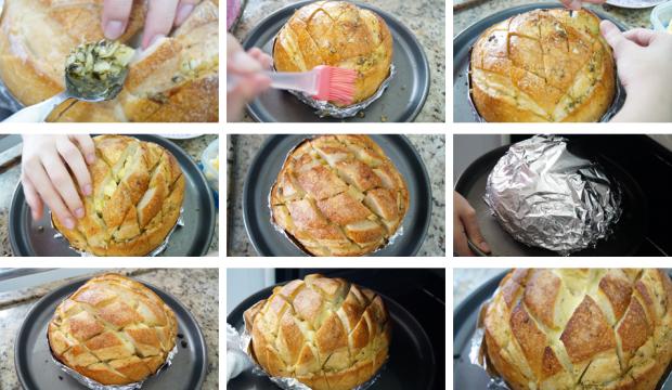 Pão de Alho com Queijo - Recheando